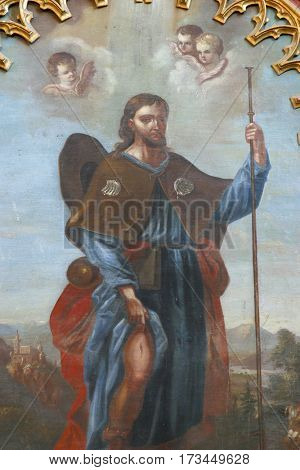 VELESEVEC, CROATIA - AUGUST 23: Saint Roch altarpiece in the Parish Church of Saint Peter in Velesevec, Croatia on August 23, 2011.