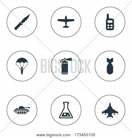 Set Of 9 Simple Military Icons. Can Be Found Such Elements As Heavy Weapon, Nuke, Air Bomber And Other.