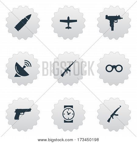 Set Of 9 Simple War Icons. Can Be Found Such Elements As Air Bomber, Firearm, Watch And Other.