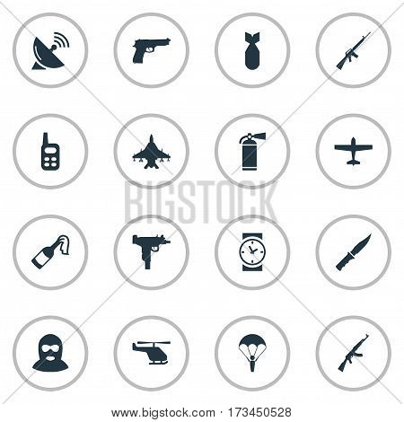 Set Of 16 Simple Terror Icons. Can Be Found Such Elements As Pistol, Helicopter, Cold Weapon And Other.