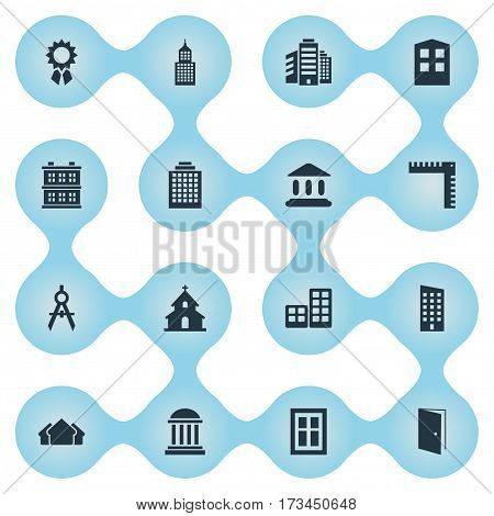 Set Of 16 Simple Architecture Icons. Can Be Found Such Elements As Glazing, Popish, Superstructure And Other.