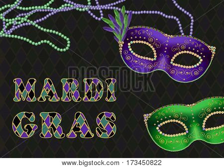 Mardi gras fat tuesday theme background with green and purple masks bead necklaces and text
