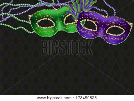 Mardi gras, fat tuesday theme background, with green and purple masks and bead necklaces, copy space