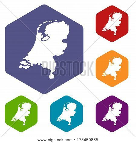 Holland map icons set rhombus in different colors isolated on white background