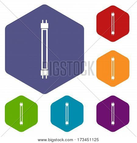 Fluorescence lamp icons set rhombus in different colors isolated on white background