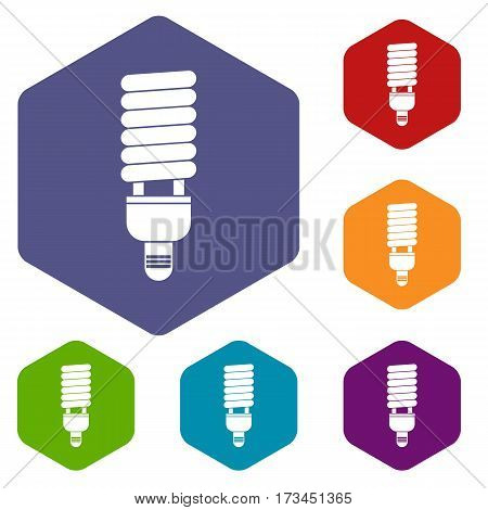 Fluorescent bulb icons set rhombus in different colors isolated on white background