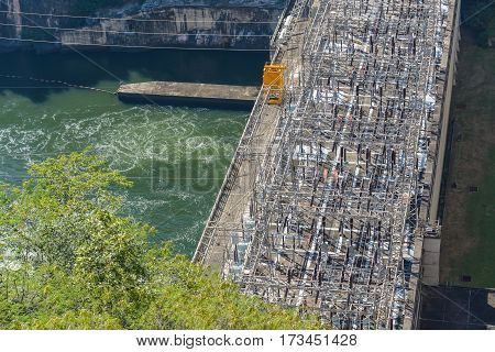 Power Station of Bhumibol Dam Concrete Arch Dam on Ping River