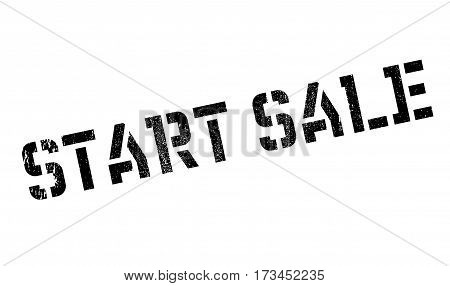 Start Sale rubber stamp. Grunge design with dust scratches. Effects can be easily removed for a clean, crisp look. Color is easily changed.