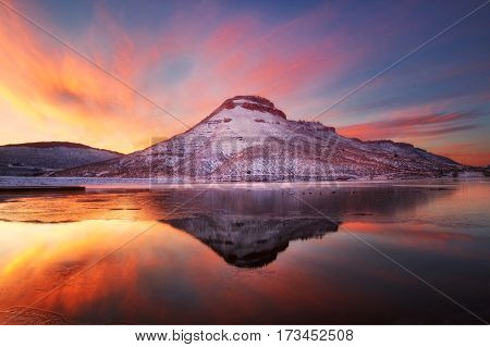 Winter sunrise on the Flatiron Reservoir located in Loveland Colorado