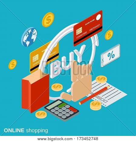 Online shopping flat 3d isometric vector concept