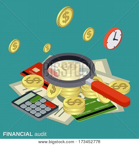 Business audit, analytics, control, financial statistics vector concept