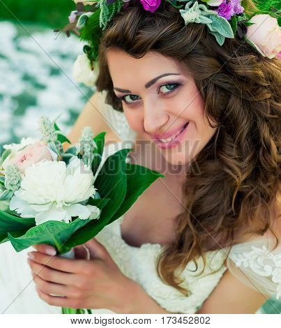 Portrait of the bride. Wedding dress. Makeup.Hairstyle