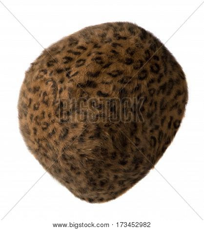 Women's Hat . Knitted Hat Isolated On White Background.brown Hat In Black Spot