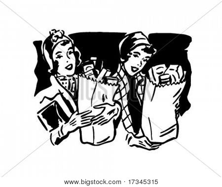 Shoppers With Groceries 1 - Retro Clip Art