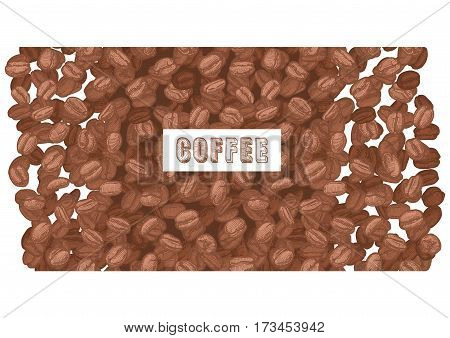 coffee inscription on brown Arabica background beans. Vector illustration in ink hand drawn style.