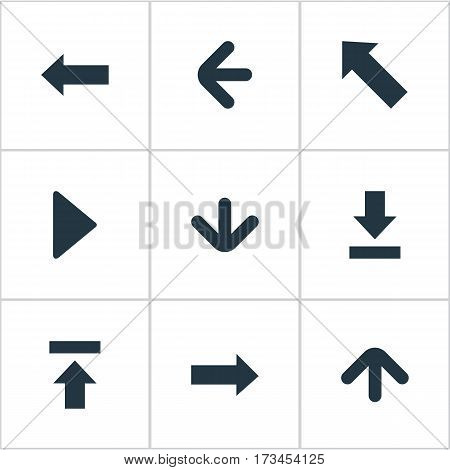 Set Of 9 Simple Arrows Icons. Can Be Found Such Elements As Let Down, Right Direction, Left Direction And Other.