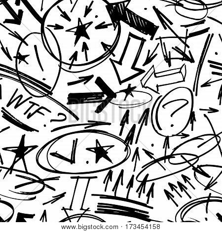 vector seamless pattern with hand drawn highlighter elements such as arrows, underlines, circles and marks