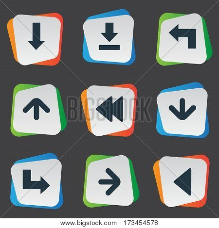 Set Of 9 Simple Cursor Icons. Can Be Found Such Elements As Pointer, Downwards Pointing, Right Direction And Other.