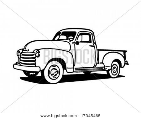 Pickup-Truck - Retro ClipArt