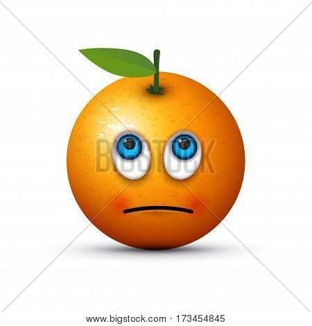 an orange rolling eyes emoji with a shadow