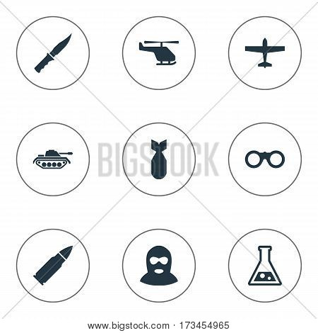 Set Of 9 Simple Military Icons. Can Be Found Such Elements As Terrorist, Air Bomber, Nuke And Other.