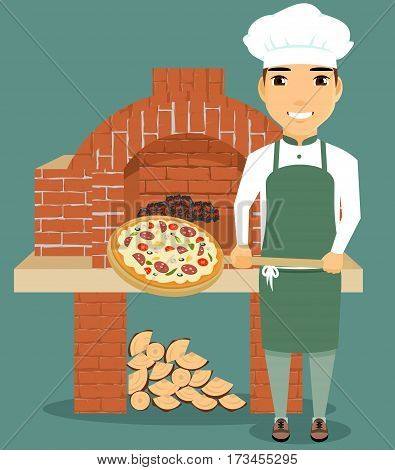 Cooking pizza. The chef holding a shovel with pizza. Oven working with wood. Happy guy.