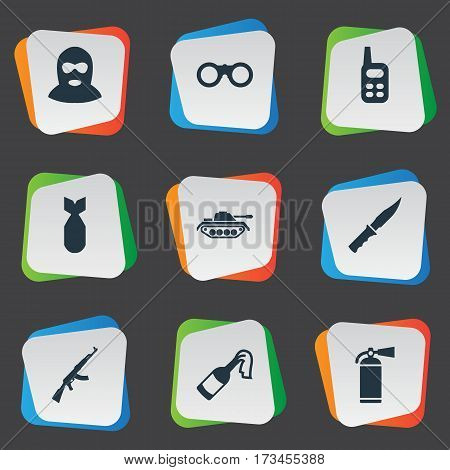 Set Of 9 Simple War Icons. Can Be Found Such Elements As Terrorist, Field Glasses, Heavy Weapon And Other.