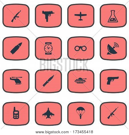 Set Of 16 Simple Terror Icons. Can Be Found Such Elements As Cold Weapon, Walkies, Firearm And Other.