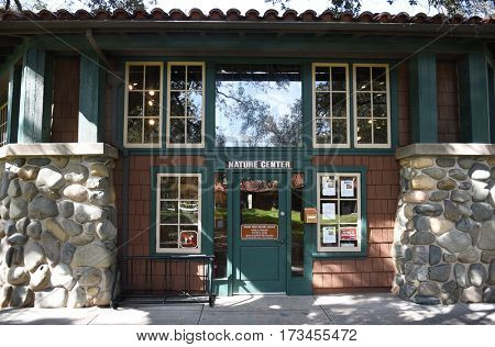 ORANGE, CALIFORNIA - FEBRUARY 24, 2017: Nature Center Irvine Regional Park entrance. Under the shade of giant California Oak trees the center has interactive displays depicting local wildlife.