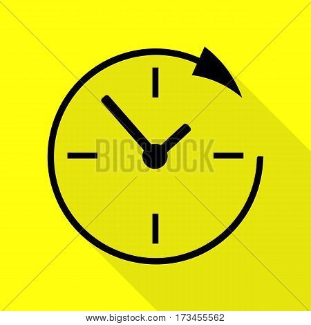 Service and support for customers around the clock and 24 hours. Black icon with flat style shadow path on yellow background.