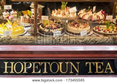 MELBOURNE, AUSTRALIA - January 12, 2017: Front window of the Hopetoun Tea Rooms established in 1892 in The Block Arcade Melbourne Australia