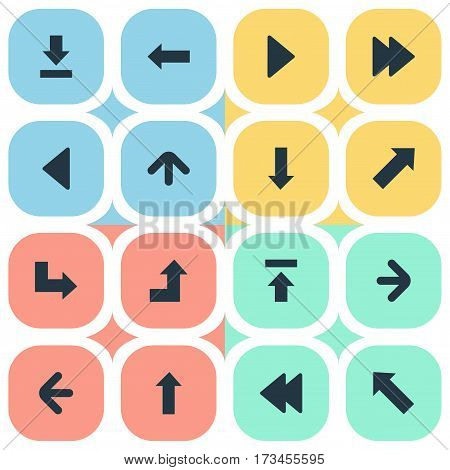 Set Of 16 Simple Pointer Icons. Can Be Found Such Elements As Upward Direction, Transfer, Let Down And Other.
