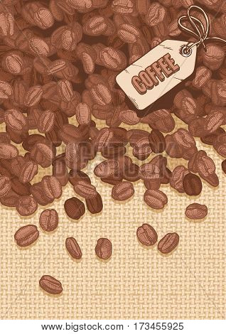 illustration of coffee emblem and Arabica beans on canvas texture. Vector background in ink hand drawn style.