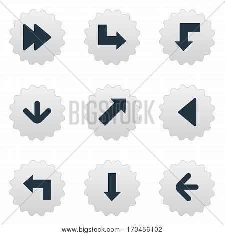 Set Of 9 Simple Indicator Icons. Can Be Found Such Elements As Downwards Pointing, Pointer, Pointer And Other.