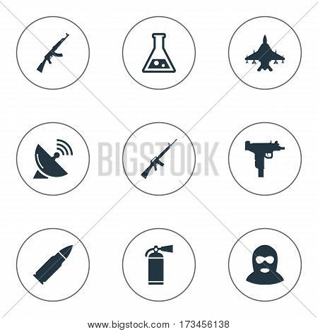 Set Of 9 Simple Army Icons. Can Be Found Such Elements As Ammunition, Firearm, Signal Receiver And Other.