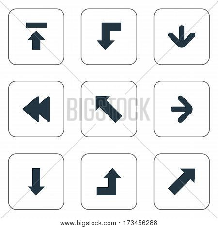 Set Of 9 Simple Indicator Icons. Can Be Found Such Elements As Pointer, Downwards Pointing, Reduction And Other.
