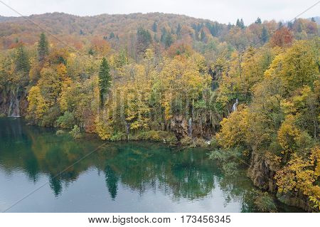 Autumnal forest and river of Plitvice national park, Croatia, selective focus, purposely blurred