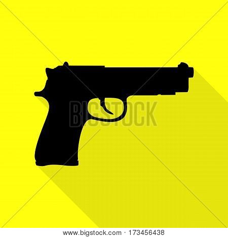 Gun sign illustration. Black icon with flat style shadow path on yellow background.