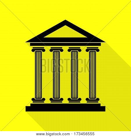 Historical building illustration. Black icon with flat style shadow path on yellow background.