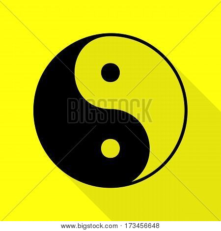 Ying yang symbol of harmony and balance. Black icon with flat style shadow path on yellow background.