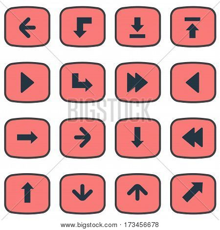 Set Of 16 Simple Cursor Icons. Can Be Found Such Elements As Right Landmark, Let Down, Left Landmark.