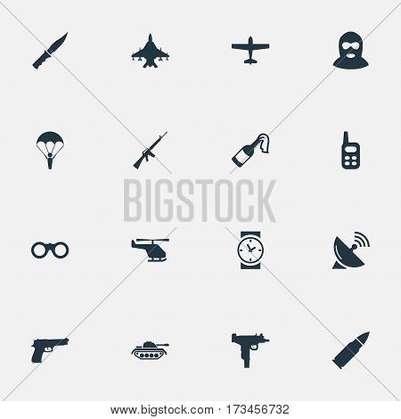 Set Of 16 Simple Battle Icons. Can Be Found Such Elements As Signal Receiver, Helicopter, Watch And Other.