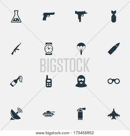 Set Of 16 Simple Army Icons. Can Be Found Such Elements As Field Glasses, Pistol, Chemistry And Other.