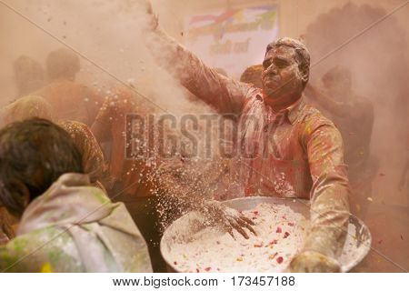Vrindavan, India - March 21, 2016: Holi celebration at Gopinath Temple in Vrindavan, Uttar Pradesh, India.