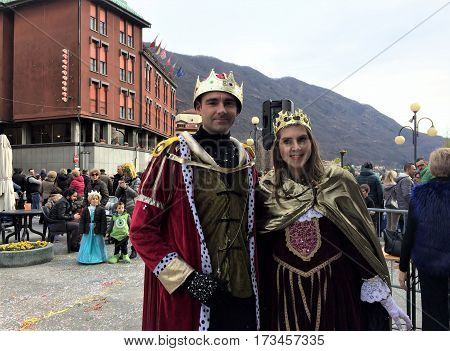 Carnival in the city.The king and the queen. 26 February 2017.Omegna,Piemonte,Italia