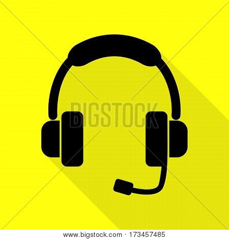 Support sign illustration. Black icon with flat style shadow path on yellow background.
