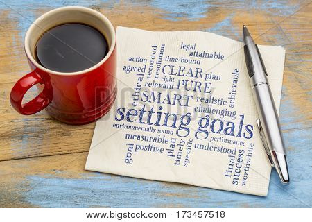 cloud of words or tags related to setting goals and SMART, PURE and CLEAR methods on a  napkin with a cup of coffee