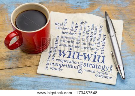 win-win strategy word cloud - handwriting on a napkin with a cup of coffee