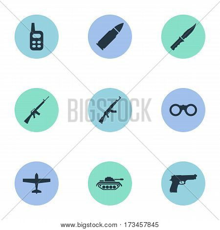 Set Of 9 Simple Terror Icons. Can Be Found Such Elements As Rifle Gun, Field Glasses, Heavy Weapon And Other.