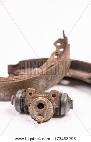 Old Rusty Drum Brakes Cylinder Isolated Over White Background